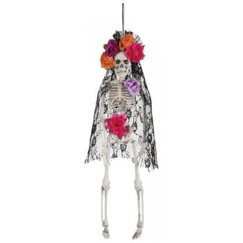 Colg.Esqueleto Velo Negro Flor