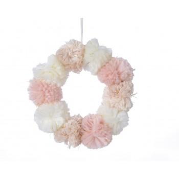 Corona Pompones 18Cm Rosa Past