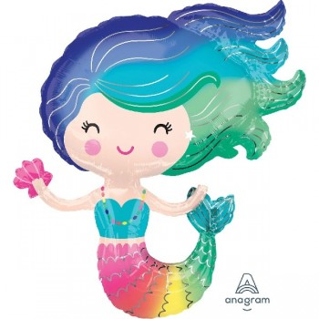 Globo Forma Sirena Multicolor