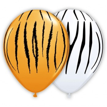 Globo Latex Tigre Blanco/Naran