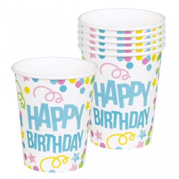 P/6 Vasos Happy Birthday Confe