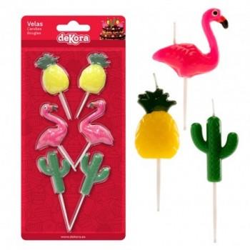 P/6 Velas Piña/Cactus/Flamenco