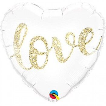 Globo Corazon Blanco Love Oro