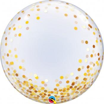 Globo Burbuja Confetti Oro