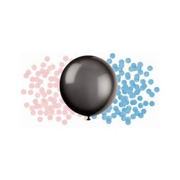 Globo Negro Confetti Azul/Rosa